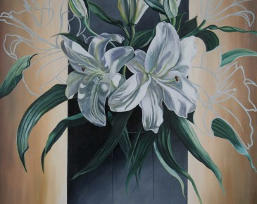 Vase of White Lilies (yellow ochre and black)