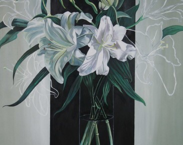 Vase of White Lilies (gray/blue and black)