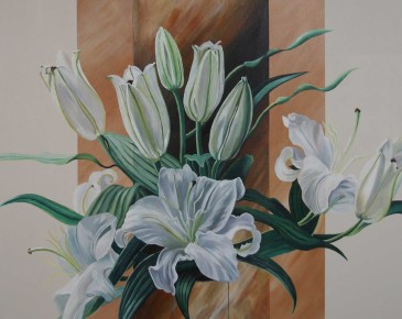Vase of White Lilies (ochre and cream)